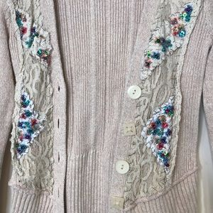 Free People Sweaters - Free People blush beige lace rough stitch beaded S